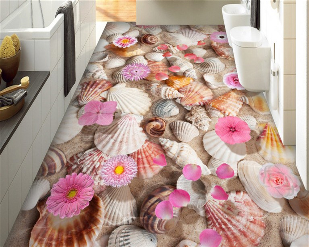 beibehang papier peint Shell conch water floats 3D floor tiles papel de parede 3d wallpaper for walls 3 d wall papers home decor beibehang walking cloud 3d floor tile tile customization large fresco pvc thick wear resistant floor cover papel de parede