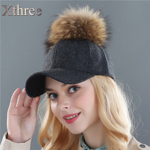 Xthree Fashion real mink pom poms wool baseball cap snapback hat Fedoras hat fitted hat for men women winter hat