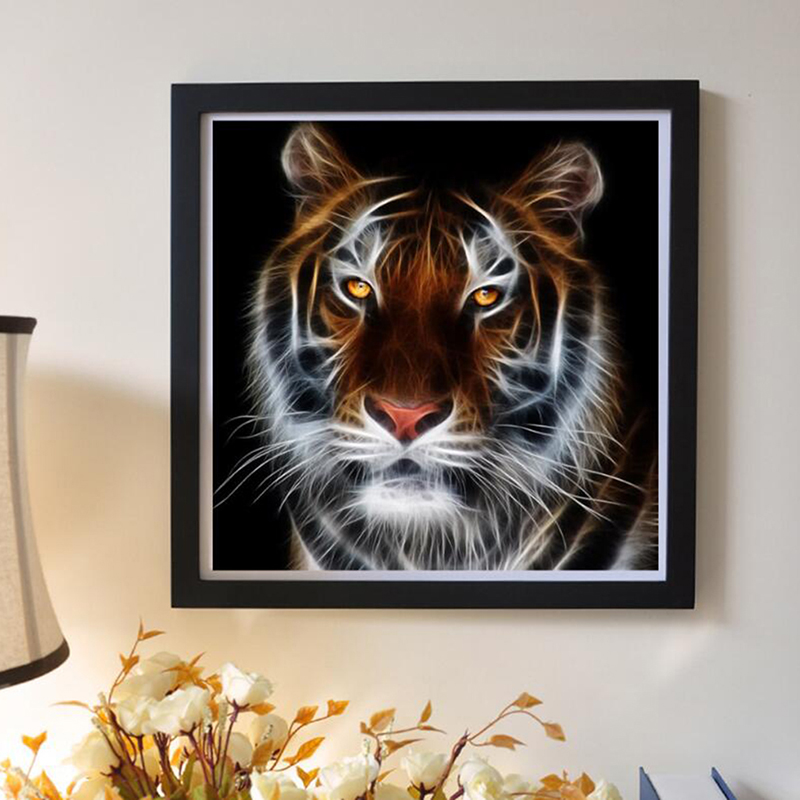 Picture Color New 5d Diamond Painting Realistic Animal Series Tiger Stick Drill Cross Stitch Decorative Painting Full Drill Arts,crafts & Sewing