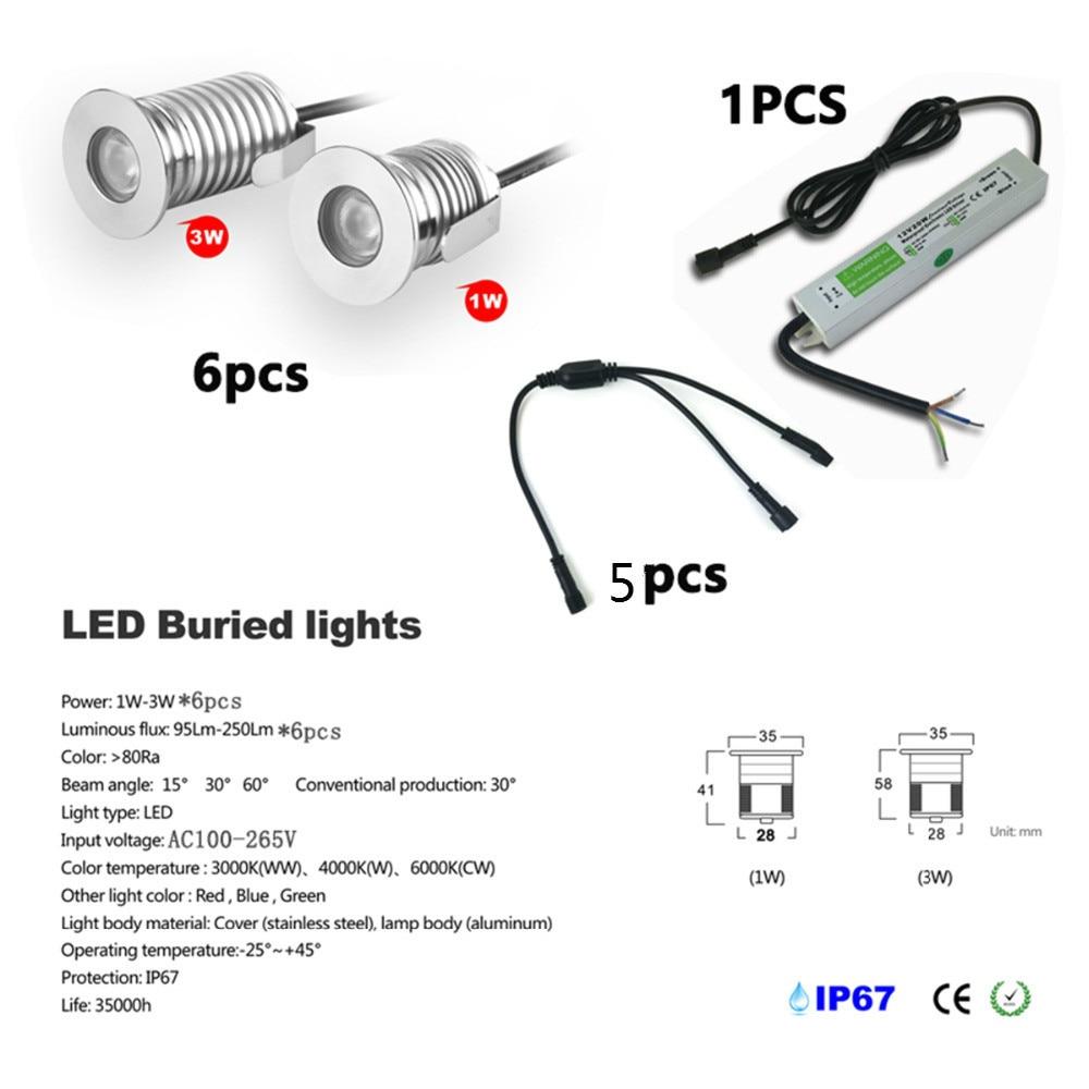6pcs / box 1w atau 3w mini membawa dikebumikan lampu dek lampu bawah tanah cahaya kalis air yang dipimpin IP67 CE & ROHS kilang