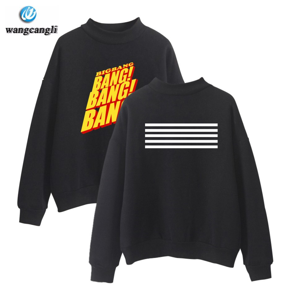 BIGBANG Kpop Turtleneck Outwear Hoodies Sweatshirts Women Fashion Casual Fans Korean Style Sweatshirt Girl's Tracksuit Clothes