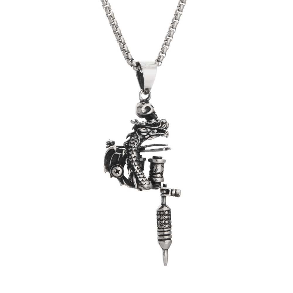 2019 New Goofan Hiphop Tattoo Machine Necklace High Quality Stainless Steel Fashion Jewelry For Men Women Gift STN2342