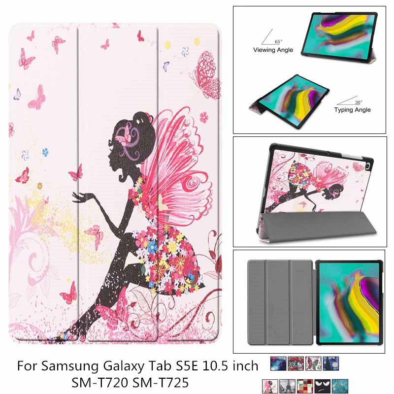 For samsung galaxy tab S5e 10.5 SM-<font><b>T720</b></font> T725 Smart Slim PU Leather 3 Fold Flip Stand Cover For Galaxy Tab S5E <font><b>T720</b></font> <font><b>case</b></font> + film image