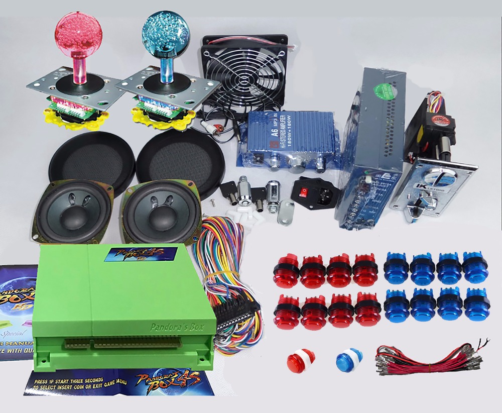 Arcade parts Bundles kit With Pandora Box 4S 815 in 1 multi game LED Joystick 12V LED illuminated button Jamma Harness Coin mech 815 in 1 original pandora box 4s plus arcade game cartridge jamma multi game board with vga and hdmi output
