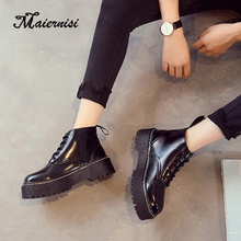 MAIERNISI Ankle Boots For Women Motorcycle Chunky Heels Casual Lacing Round Toe Platform new fashion Shoes Female