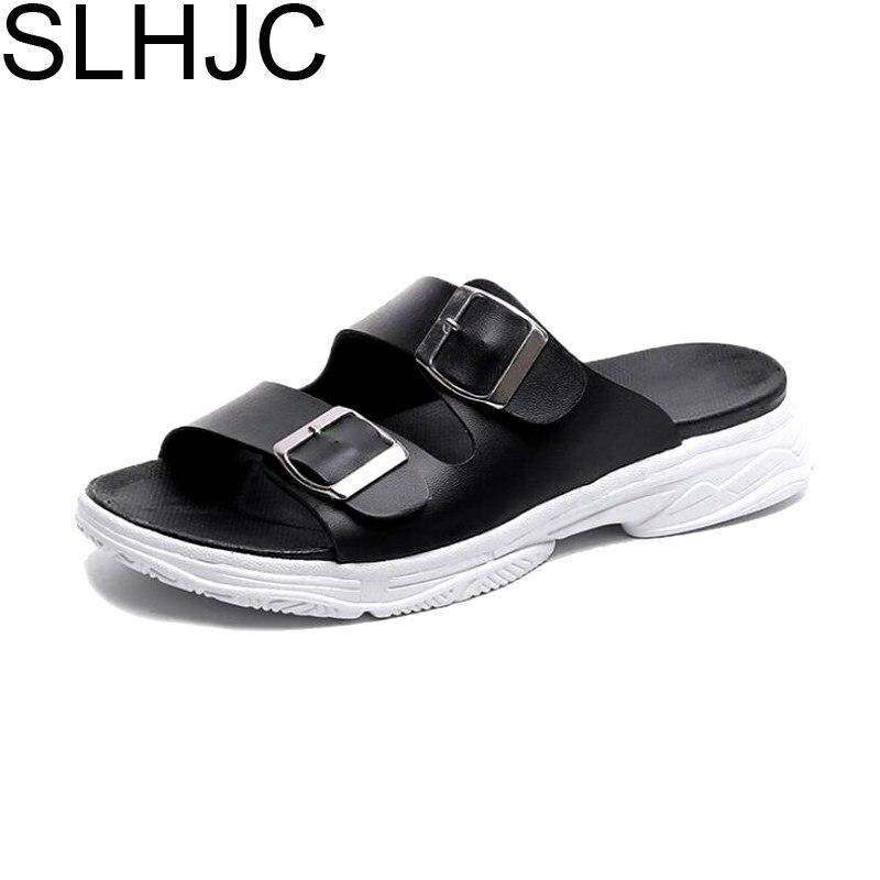 SLHJC тапочки Для женщин мягкие клинья Обувь на среднем каблуке кожа слайды за пределами Повседневное на платформе с открытым носком сопротив...
