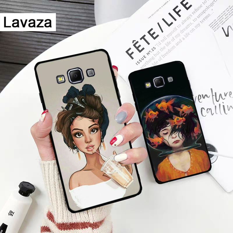 Lavaza fashion girl illustration Silicone Case for Samsung A3 A5 A6 Plus A7 A8 A9 A10 A30 A40 A50 A70 J6 A10S A30S A50S in Fitted Cases from Cellphones Telecommunications