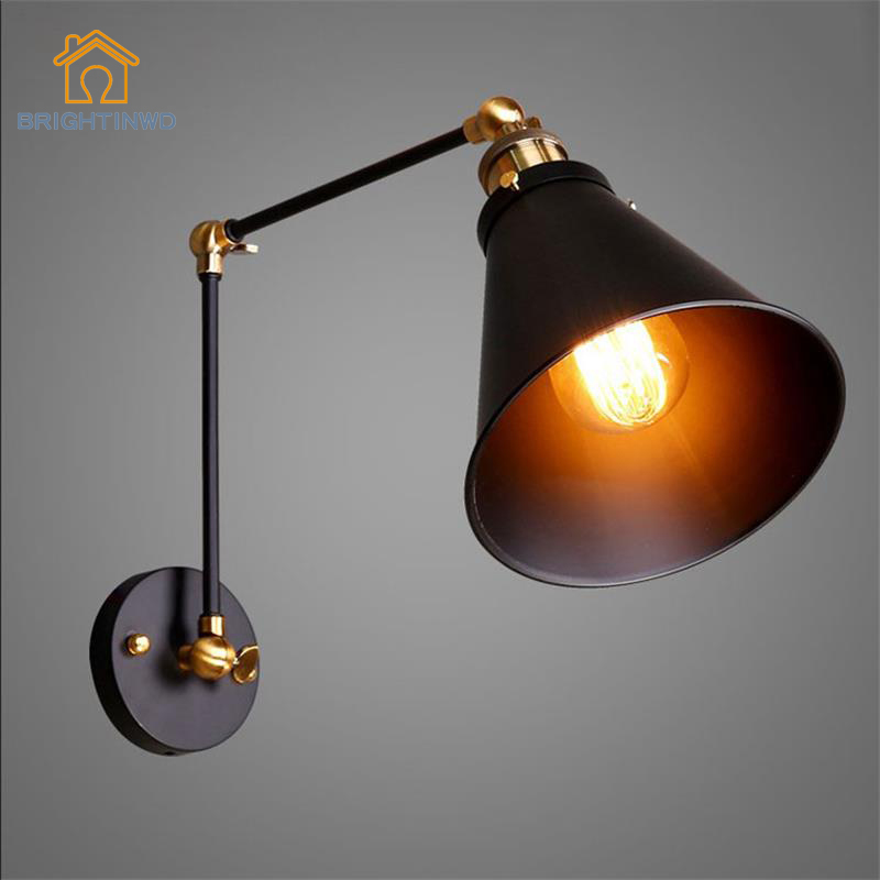 BRIGHTINWD Industrial Wind Double Wall Lamp Creative Wrought Iron Mirror Front Bed Net Cafe Bar Table Restaurant Wall Lamp