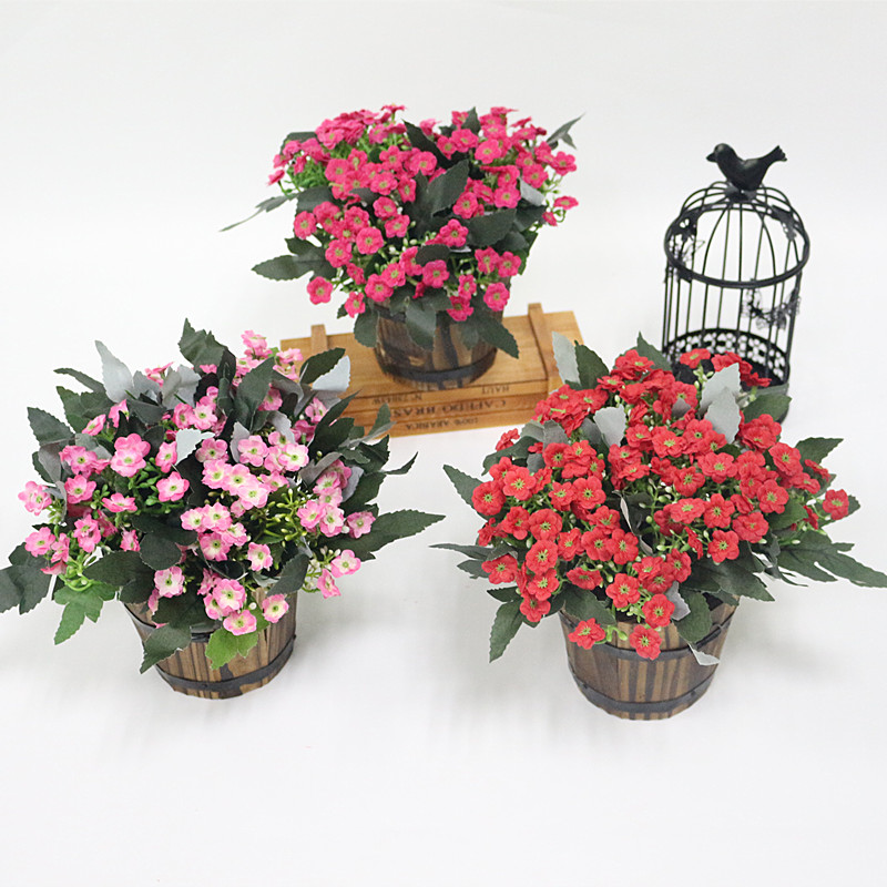 Flone Simulation Milan Fake Flower Bonsai Artificial Plastic Bouquet For Wedding Party Family Living Room Decorated