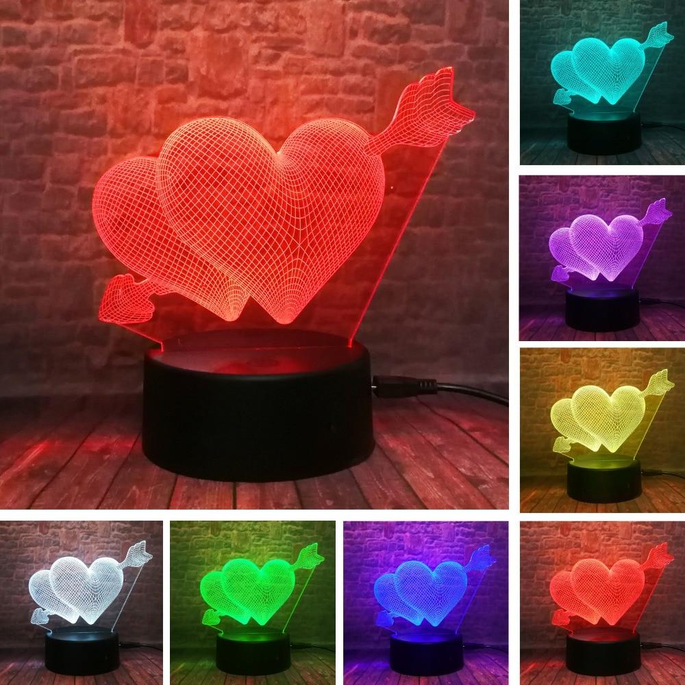 3D السهم من خلال القلب الصمام ليلة الخفيفة مصباح إضاءة رومانسية مصباح زفاف الديكور عشاق والزوجين والحبيب أفضل هدية