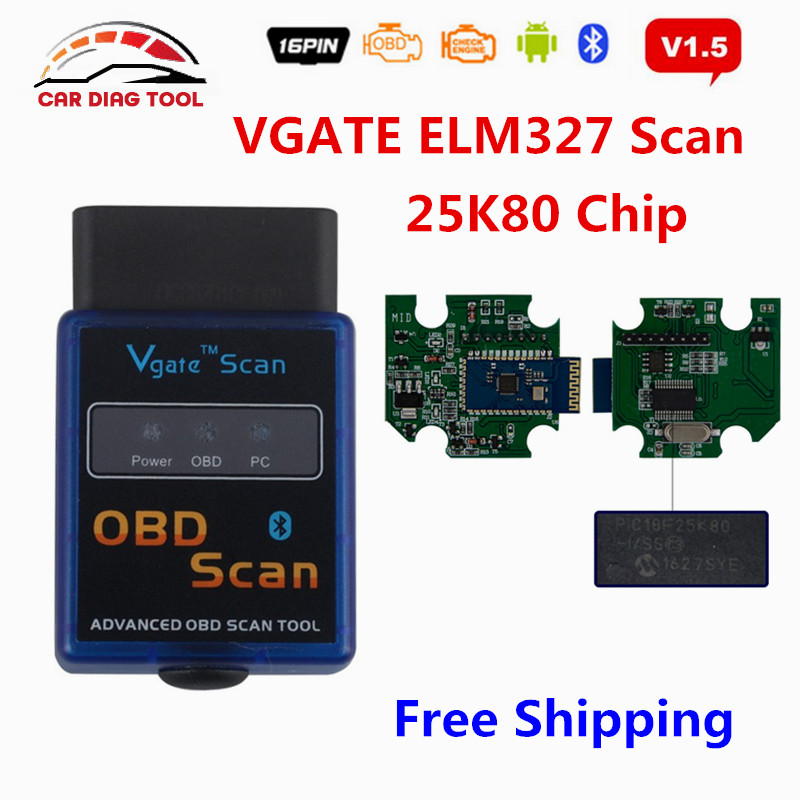 Prix pour Date Vgate ELM327 V1.5 Firmware PIC18F25K80 ELM327 Bluetooth OBD2 Automobile Scanner ELM 327 Vgate Scan OBDII Lecteur de Code