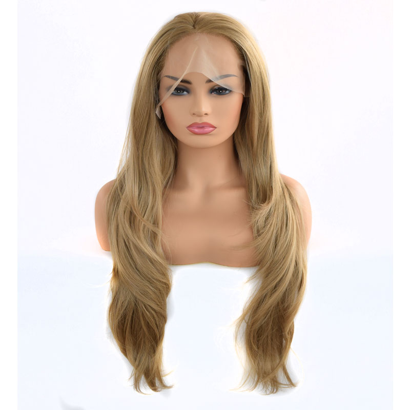 Bombshell Rose Gold Blonde Natural Wave Synthetic Lace Front Wig Glueless Heat Resistant Fiber Hair Free Parting For Women Wigs-in Synthetic Lace Wigs from Hair Extensions & Wigs    1