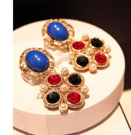 Wholesale 12pairs/Lot Luxury Charms Women Jewellery Vintage Big Stud Earrings C4R18