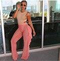 Широкие Брюки Нога 2016 Жаркое Лето Женщины Рюшами Сетки Пляж Брюки сексуальная Свободные Черный Розовый Видеть Сквозь Середины Талии Длинные Брюки S-XL