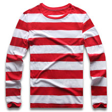 Red White Striped Long Sleeve T Shirts Tees for Men Round Neck Colorful Black White Stripes Men Casual цена и фото