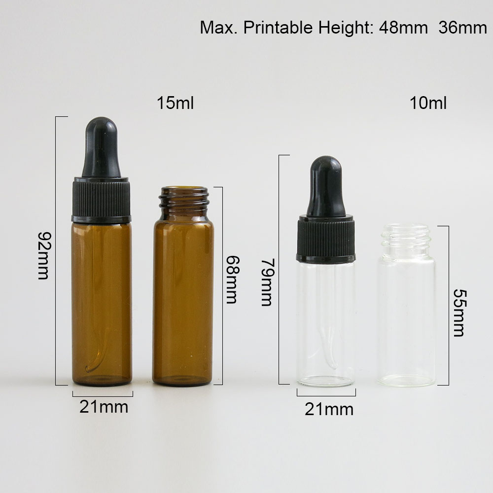 Купить с кэшбэком 30 x 10ml 15ml Dropper Bottle 1/2oz 1/3oz Amber Clear Glass E-Liquid Drop for essential basic massage oil Pipette Vials