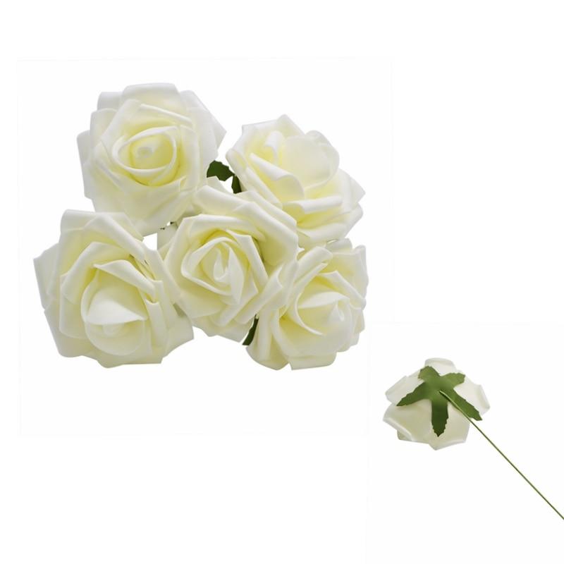 10 шт. 8 см большие ПЭ пенные цветы искусственные розы цветы Свадебные букеты Свадебные украшения для вечеринки DIY Скрапбукинг Ремесло поддельные цветы - Цвет: Beige