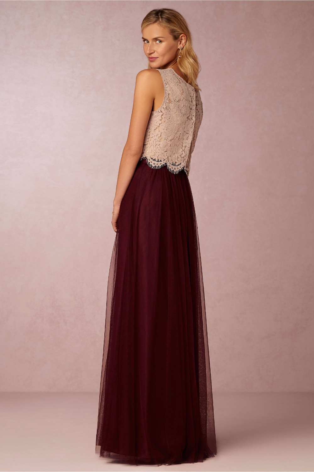 2017 burgundy two pieces long bridesmaid dresses lace top tulle 2017 burgundy two pieces long bridesmaid dresses lace top tulle skirt women formal boho wedding party gowns custom made new sale in bridesmaid dresses from ombrellifo Gallery