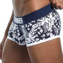 New Brand Male Panties Breathable Boxers Cotton Men Underwear U convex pouch Sexy Underpants Printed leaves Homewear Shorts(China)