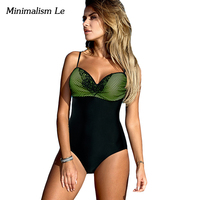 Minimalism Le Lace Patchwork One Piece Swimsuit Bathing Suits 2017 Sexy Bandage Monokini Women Swimwear Maillot