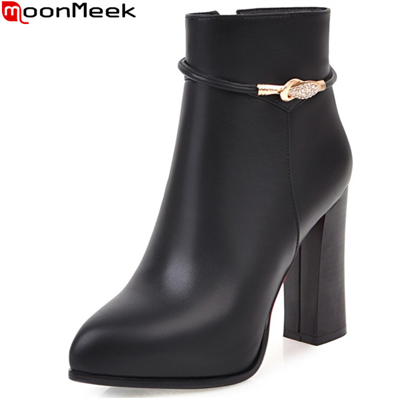 MoonMeek black red women boots pointed toe zipper crystal autumn winter ladies boots super high square heel ankle boots big size 2016 flapper ladies autumn winter women red black tassel pointed toe high heels boots spike fringe ankle shoes plus size 40 usa
