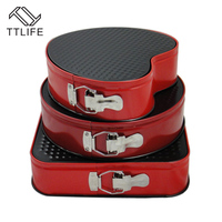 TTLIFE 3pcs Set Square Round Heart Shaped Cake Mold Metal Non Stick Bottom Buckle Metal Chocolate