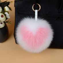 ELEIZHENWTA letter 15 cm Fox Fur Pom Pom ball keychain fluffy Puffs Bag Pendant Llavero Heart PomPoms Key Chain Handbag Charm
