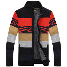 NIANJEEP Brand Clothing Cardigan Winter Sweater Men Pattern Striped Zipper Thicken Fleece Coat agasalho masculino A3353