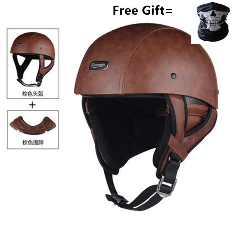 Image 4 - Skull Cap Motorcycle Helmet Vintage Half Face Helmet Retro German Style chopper Cruiser-in Helmets from Automobiles & Motorcycles