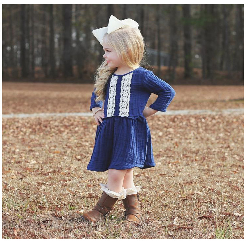 2018 Autumn Girls Dresses Todder Bebe Long Sleeve Cotton Linen Dress Children Kids Lace Blue Dress Comfortable Children Clothes