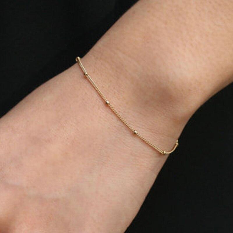 Золотой браслет из бисера, тонкий минималистский Браслет, в горошек, крошечные лакомство ...