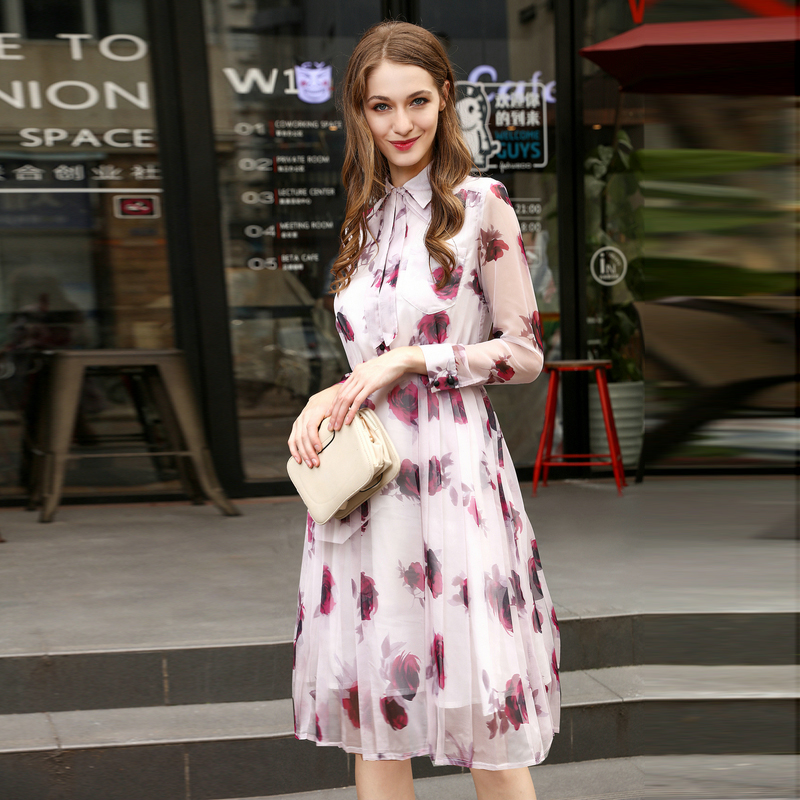 MIUXIMAO Official Store 2017 Latest Spring  Summer New Arrival Elegant A-Line Turn-down Collar Full Sleeve Ribbons Print Knee-Length Dress Women