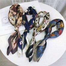 70х70 см квадратный цветок печатных шелковый шарф для женщин хорошее качество корейский шарф платок шаль платок бесконечность