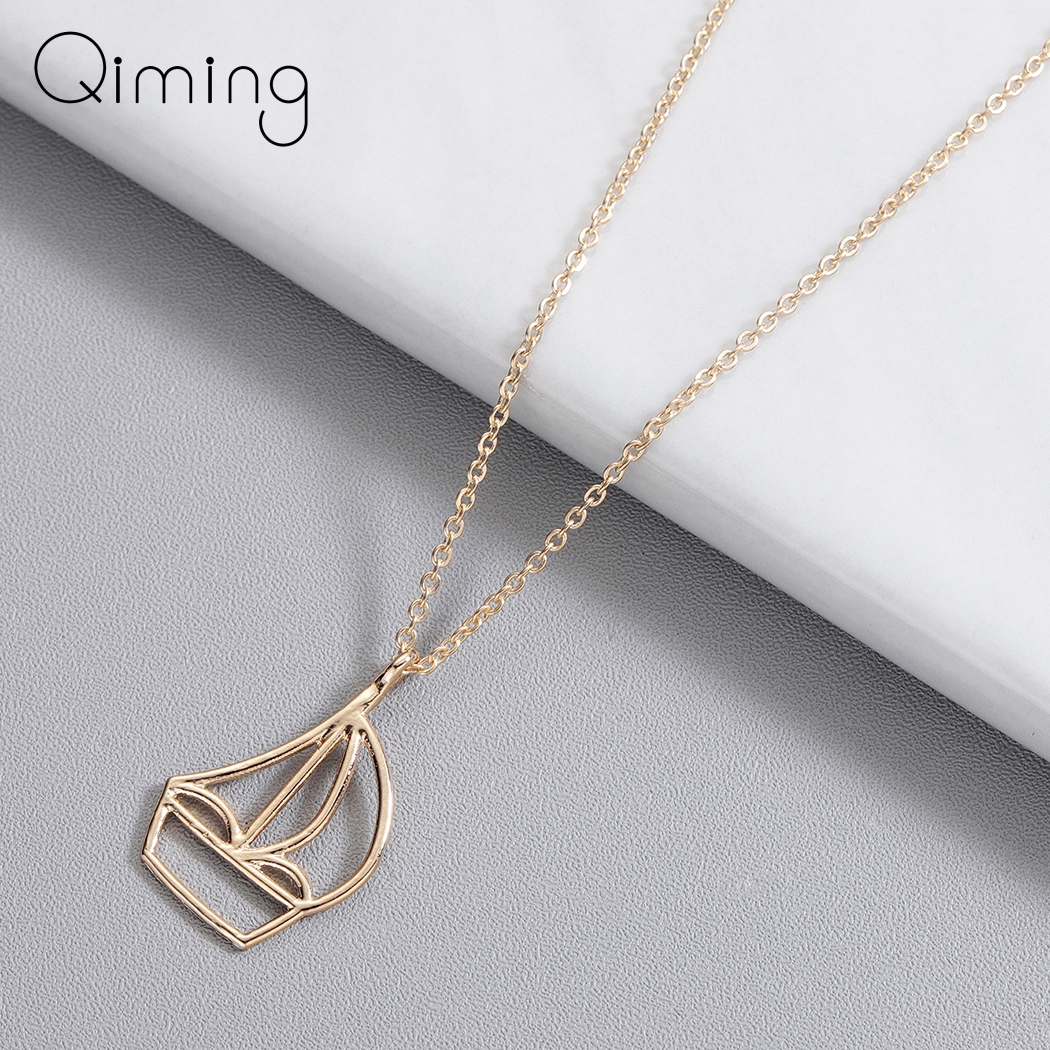 Rose Gold Sailboat Simple Necklace Charm Geometric Necklaces