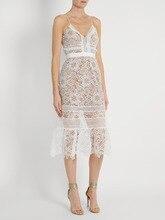 Self Portrait 2017 Fashion Women White Lace Dress Hollow Backless Sexy Lady Dress Self Portrait Straps Flower Long Pocket Dress
