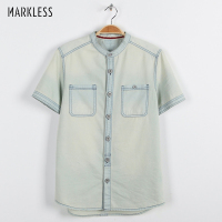 Markless Summer Denim Shirt Men Retro Casual Short Sleeve Shirts camisa masculina Plus Size XS XXL camisas para hombre CSA7565M