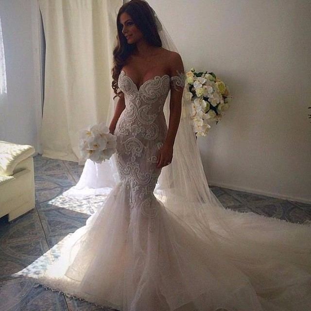 Romantic beautiful mermaid wedding dresses sweetheart for No back wedding dress