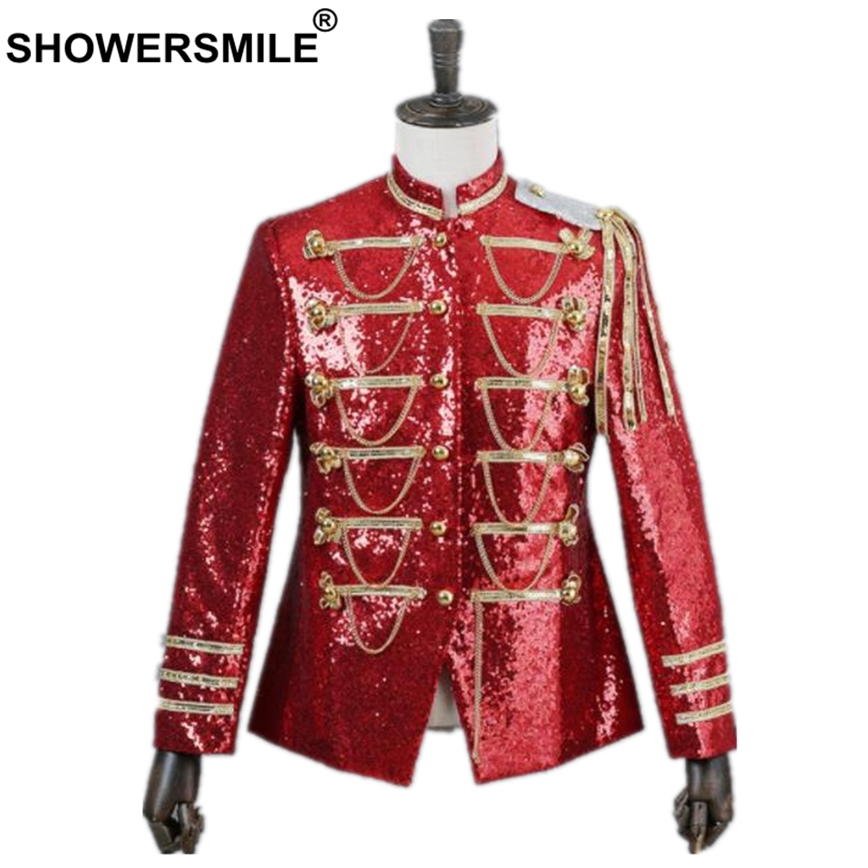 SHOWERSMILE Blazer Men British Style Palace Suit Jacket Male Sequin Red Tassel Coat Stage Singer Party Men's Clothes