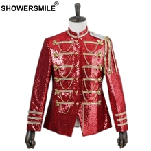 SHOWERSMILE Blazer Men British Style Palace Suit Jacket Male Sequin Red Tassel Coat Stage Singer Party Mens Clothes