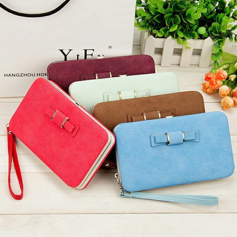 Multi-function Womens Long Wallets Iron Edge Hand Rope Bow-Knot Designer Mobile Phone Bit Coin Purses Credit Card Holder Wallet