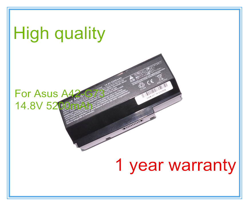 <font><b>14.8V</b></font> <font><b>5200mAh</b></font> A42-G73 battery for G73 G73JH G73JW G73SW free shipping image