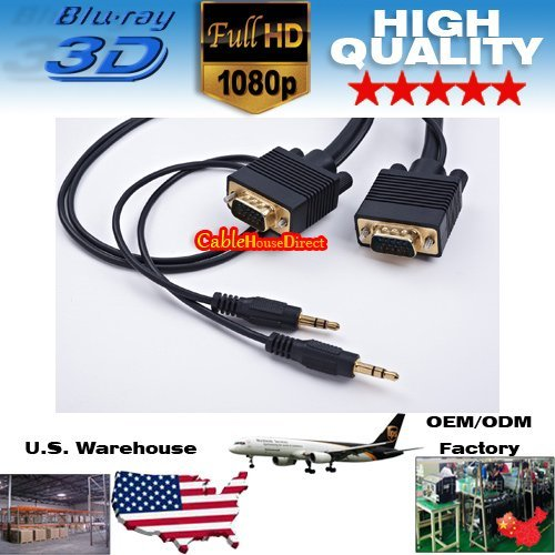 5pcs/lot DHL/UPS 3FT VGA HD15 M/M Monitor Cable w/ 3.5mm Stereo Cable (Gold Plated) Wholeseling