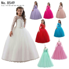 Free Shipping  Ankle Length Kids Party Dress 2019 New Arrival Full Sleeves Red Flower Girl Dresses For Weddings Child Ball Gowns free shipping 4t 12t years child party dress 2017 new arrival pageant ball gown for girls ankle length peach flower girl dresses