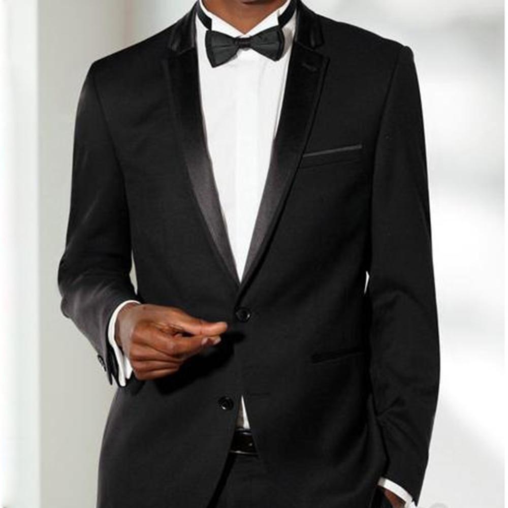 Custom MADE TO MEASURE ผู้ชายชุด BESPOKE สีดำเจ้าบ่าวงานแต่งงานชุดบาง lapel, ปรับแต่ง tuxedo (แจ็คเก็ต + กางเกง + ผูก + squaure-ใน สูท จาก เสื้อผ้าผู้ชาย บน   1