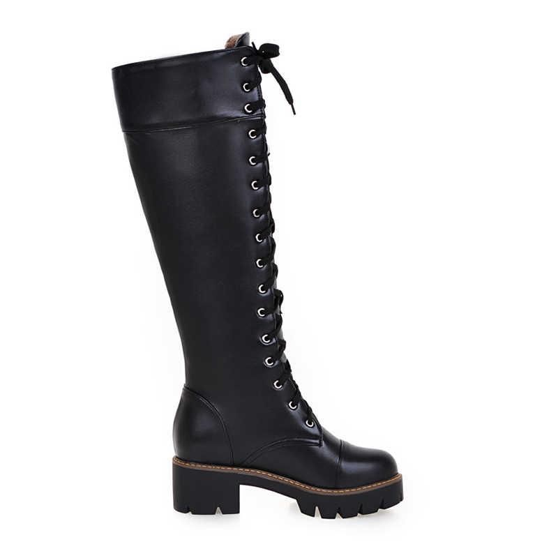 KarinLuna 2018 Moda büyük boy 34-43 kare Topuklu çizmeler kadın ayakkabısı Kadın Botları kadın diz-yüksek Çizmeler Kadın çizmeler