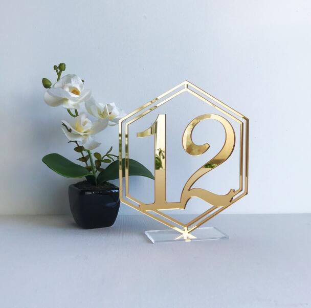 Wedding Table Numbers || hexagon geometrical clear wedding table numbers engraved white modernWedding Table Numbers || hexagon geometrical clear wedding table numbers engraved white modern