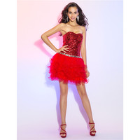 TS Couture A Line Princess Sweetheart Short Mini Tulle Sequined Cocktail Party Prom Dress With Sequin
