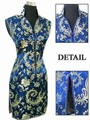 Nuevo Azul Marino mujeres Chinas Poliéster Cheongsam Novedad Botón V-cuello Mini Qipao Robe De Soirée Tamaño S M L XL XXL XXXL L017-E