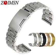 ZLIMSN Stainless Steel Watchband Deployment Clasp Silver Black Gold Watch Strap 18 20 22 24 26mm Brazalete De Acero Inoxidable