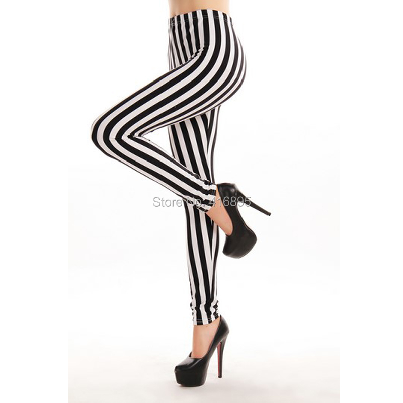 Большие размеры XL 2XL 3XL 4XL женская черно-белую полоску Леггинсы для женщин молоко Леггинсы для женщин Galaxy LEGGINGS школьница Леггинсы для женщин